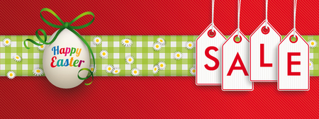 Hanging price stickers with text Sale and easter egg on the red striped background. Eps 10 vector file.