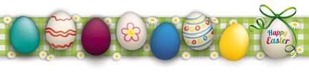 checked: Colored easter eggs with daisy flowers on the checked table cloth. Eps 10 vector file.