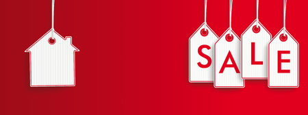 furniture store: Hanging price stickers with text Sale on the red striped background. Eps 10 vector file.