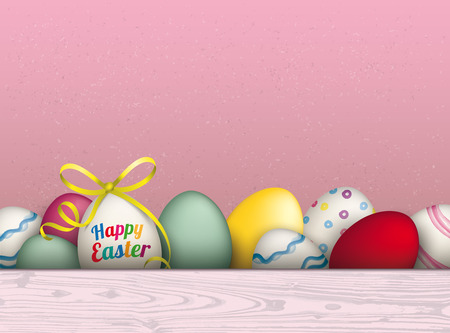 laths: Colored eggs with ribbon and text Happy Easter. Eps 10 vector file.