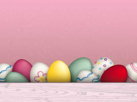 laths: Colored easter eggs on the pink background. Eps 10 vector file.