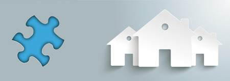 Puzzle hole with white paper houses on the gray background. Eps 10 vector file.