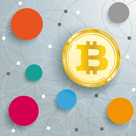 Infographic with circles and golden bitcoin on the white background. Eps 10 vector file.