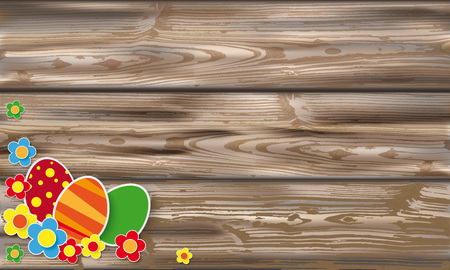 weathered wood: Easter eggs with flowers on the wooden background.  Eps 10 vector file.