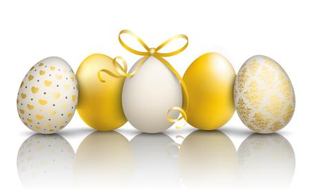 5 golden easter eggs on the mirror. Eps 10 vector file.