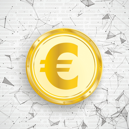 Abstract background with golden Euro coin, connected dots and data. Eps 10 vector file. Illustration