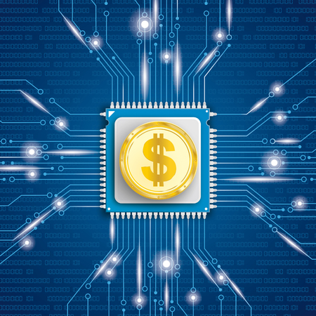 Microchip processor with golden Dollar coin and lights on the blue background. Eps 10 vector file.