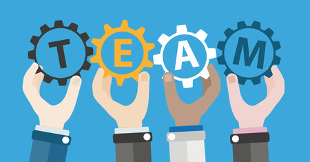 team hands: 4 human hands with gears and text Team. Eps 10 vector file. Illustration