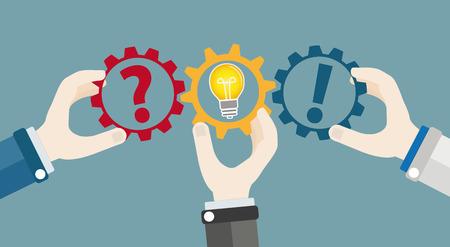 Hands with gear wheels, question, answer and idea bulb. Eps 10 vector file. Illusztráció