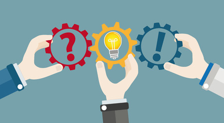 Mains avec roues dentées, ampoule question, réponse et idée. Fichier vectoriel EPS 10
