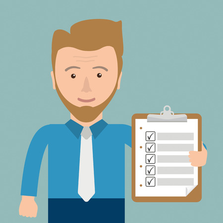right choice: Businessman with clipboard with checklist in the hand. Eps 10 vector file. Illustration