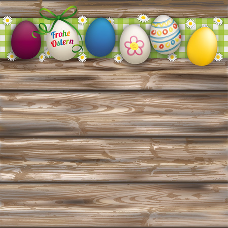 weatherworn: German text Frohe Ostern, translate Happy Easter. Eps 10 vector file.