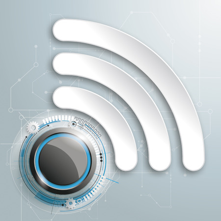 Infographic design with WiFi-Symbol on the gray background. Eps 10 vector file.