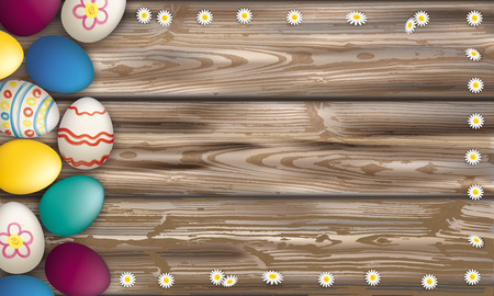 weathered wood: Easter eggs with daisy flowers on the wooden background.  Eps 10 vector file. Illustration