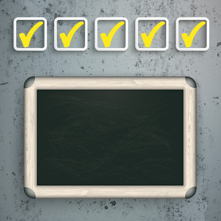 examiner: checklist with blackboard on the concrete background. Eps 10 vector file. Illustration