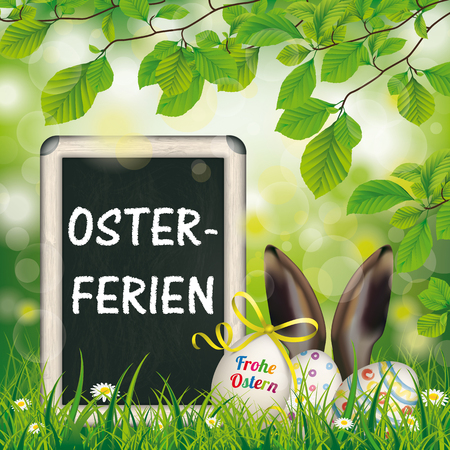 pascuas navideÑas: German text Frohe Ostern and Osterferien, translate Happy Easter and Easter Holiday. Eps 10 vector file. Vectores