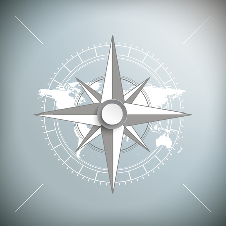 Compass on the gray background. Eps 10 vector file.