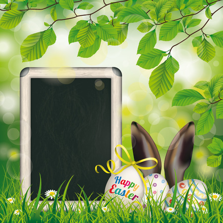 Happy easter egg with ribbon in the green nature. Eps 10 vector file. Illustration