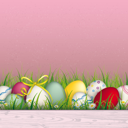 laths: Colored eggs with ribbon in the grass on the pink background. Eps 10 vector file.