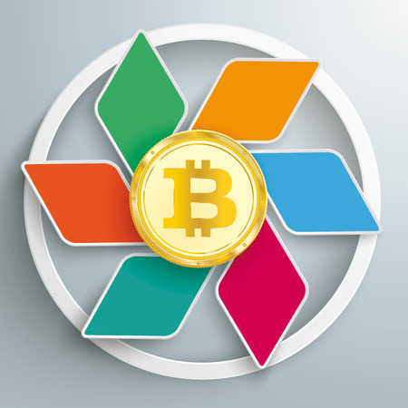 Infographic design with rhombus and bitcoin on the gray background. Eps 10 vector file. Illustration