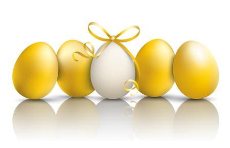 4 golden easter eggs on the mirror. Eps 10 vector file.