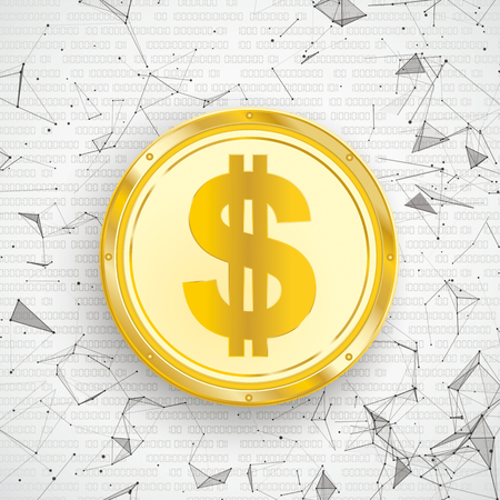 Abstract background with golden Dollar coin, connected dots and data. Eps 10 vector file.