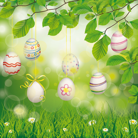grasslands: Hanging easter eggs with ribbon in the green nature. Eps 10 vector file. Illustration