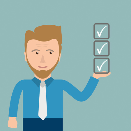 right choice: Businessman with checklist in the hand. Eps 10 vector file. Illustration
