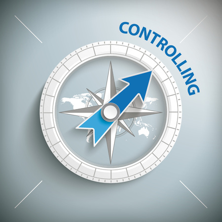 controlling: Compass with text controlling. Eps 10 vector file. Illustration
