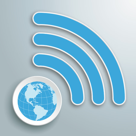 Infographic with WiFi-Symbol and globe on the gray background. Eps 10 vector file.