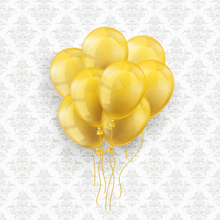Golden balloons on the wallpaper with ornaments background. Eps 10 vector file. Illustration