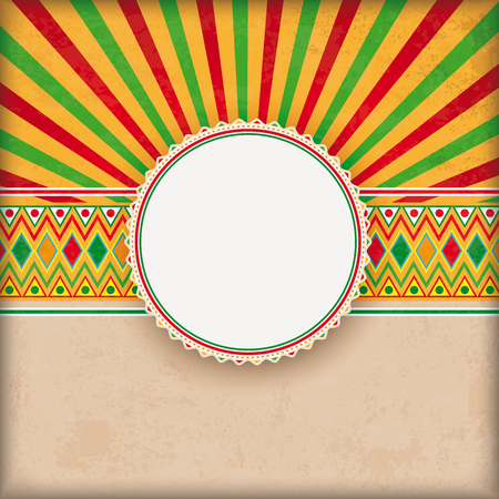 Vintage background with mexican ornaments, emblem and retro sun. Eps 10 vector file. Illustration