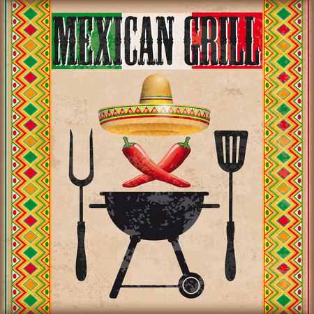 Vintage background with mexican ornaments, bbq, sombrero and chili. Eps 10 vector file.