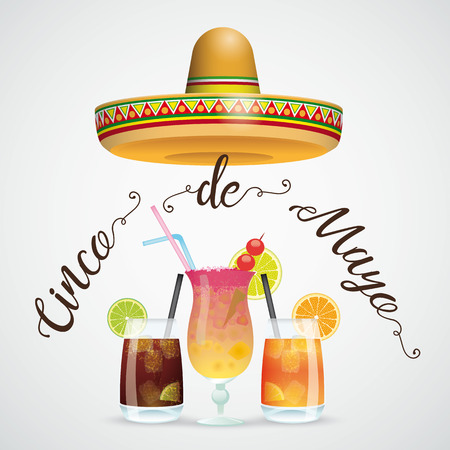 Mexican sombrero with cocktails on the gray background. Eps 10 vector file.