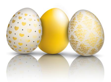 3 golden easter eggs on the mirror. Eps 10 vector file.