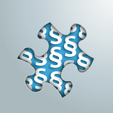 paragraphs: Puzzle hole with white paragraphs on the gray background. Eps 10 vector file. Illustration