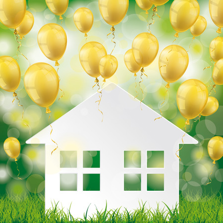 Flying golden balloons on the green background with house in the grass. Eps 10 vector file.