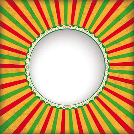 Retro sun with hole and mexican colors. Eps 10 vector file.