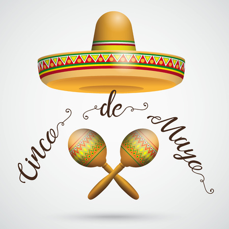 cappelli: Mexican sombrero with maracas on the gray background. Eps 10 vector file. Vettoriali