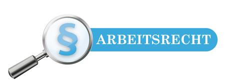 Germant text Arbeitsrecht, traducir Ley del trabajo. Eps 10 archivo vectorial. Ilustración de vector
