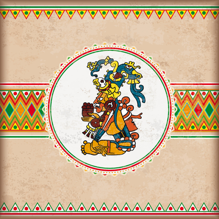 Vintage background with mexican ornaments , maya god and white emblem. Eps 10 vector file. Illustration