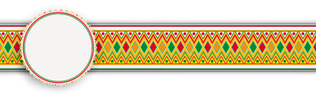 Banner with mexican ornaments and colored emblem Eps 10 vector file.