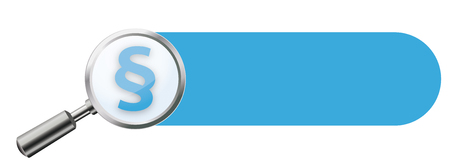 checking: Transparent loupe with paragraph and blue banner on the white background. Eps 10 vector file. Illustration
