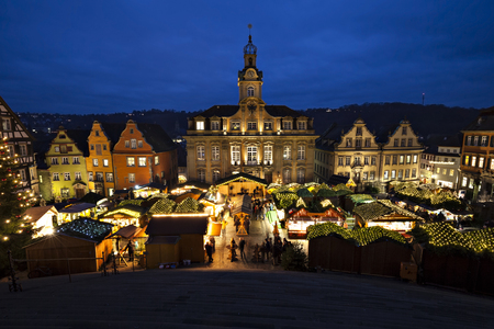 lighted: Christmas market in Schwaebisch Hall, Germany, Baden-Wuerttemberg.  Stock Photo