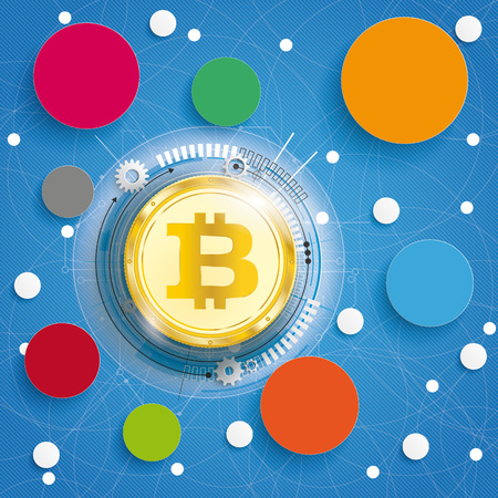 Golden Bitcoin on the blue background with circles. Eps 10 vector file. Stock Photo