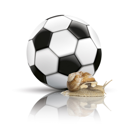 흰색 배경에 로마 달팽이와 고전적인 축구입니다. Eps 10 벡터 파일입니다. 스톡 콘텐츠 - 77540509