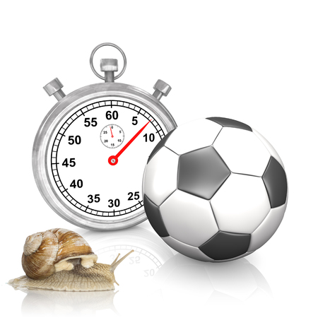 Stop watch with classic football and snail on the white. 3d illustration.