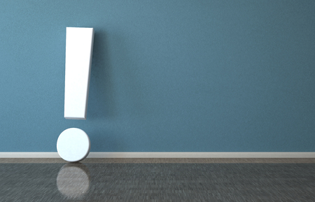 White exclamation mark in the room. 3d illustration.