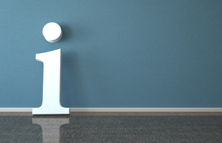 Information  symbol in the room. 3d illustration.  Stock Photo