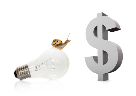 Snail on bulb with big symbol of dollar on the white. 3d illustration.